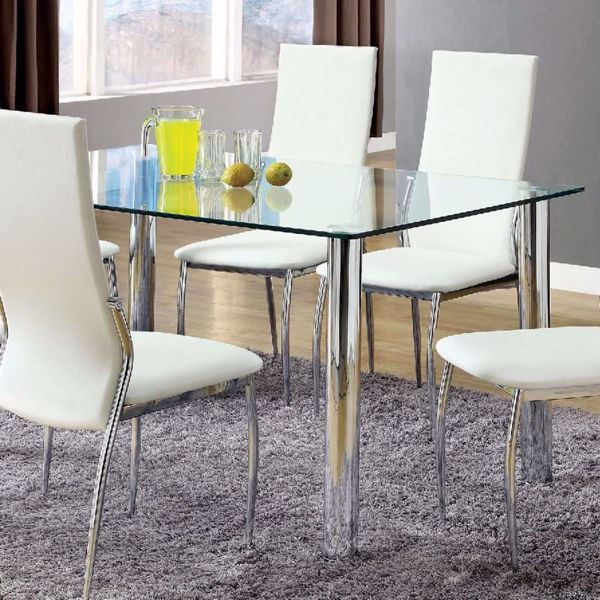 Furniture of America - Oahu Glass Top Dining Table