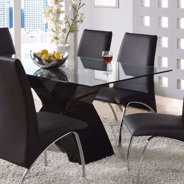 Furniture of America - Wailoa Glass Top Dining Table